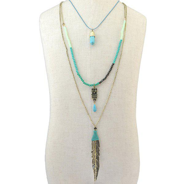 Multilayer Faux Turquoise Owl Leaf Pendant Necklace - COLORMIX