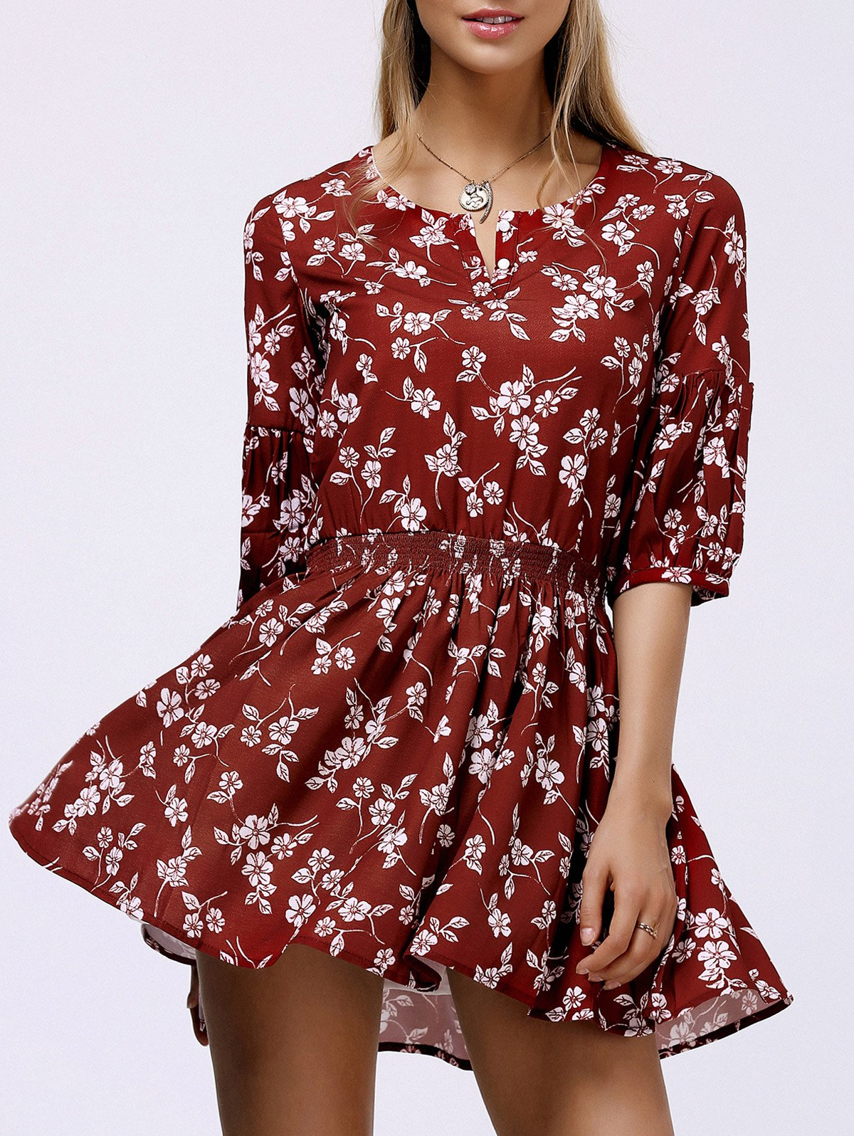 Slimming Floral Print Flowy Dress - DEEP RED L