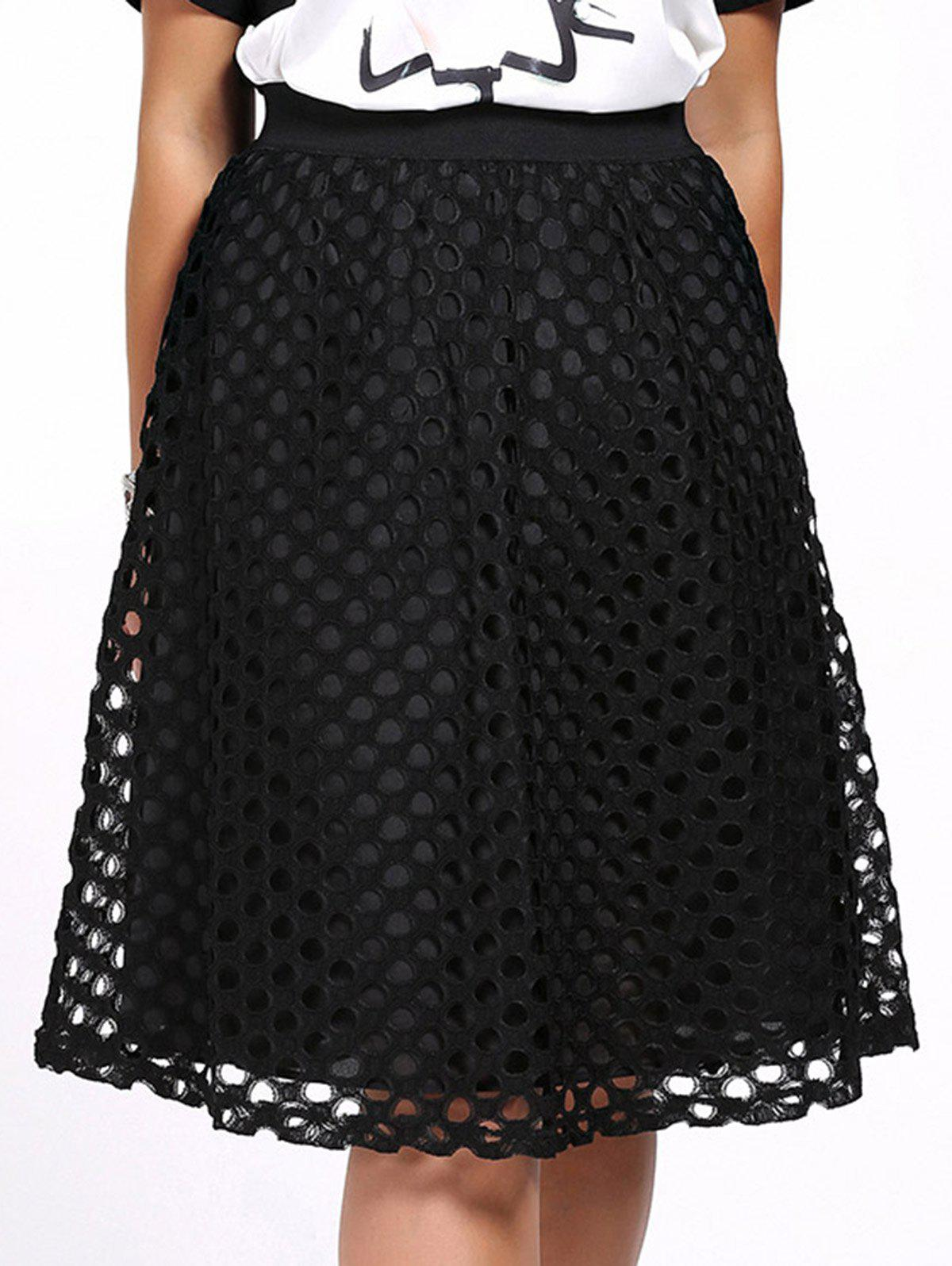 Chic Plus Size Hollow Out Solid Color Women's Skirt - BLACK 5XL