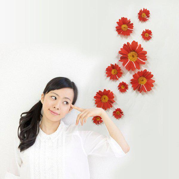 10 Pcs/Set Bright Stereo Daisy Wall Stick Home Decoration - RED