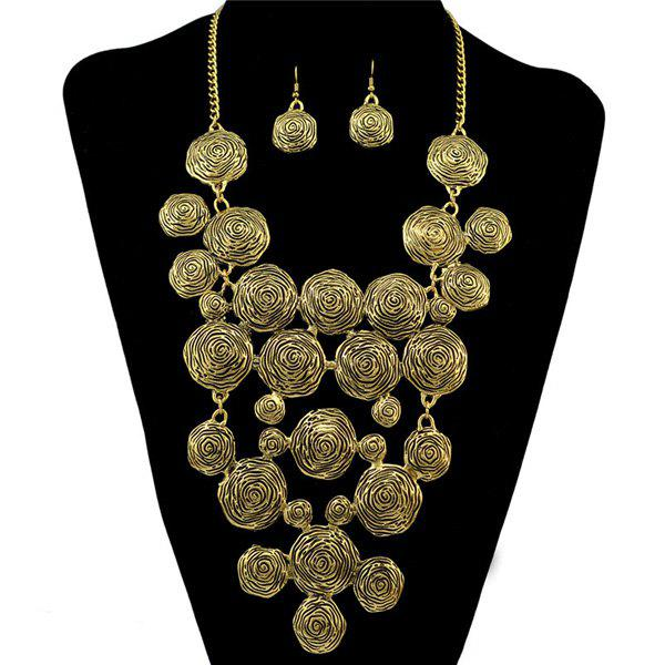 A Suit of Embossed Flower Necklace and Earrings - GOLDEN