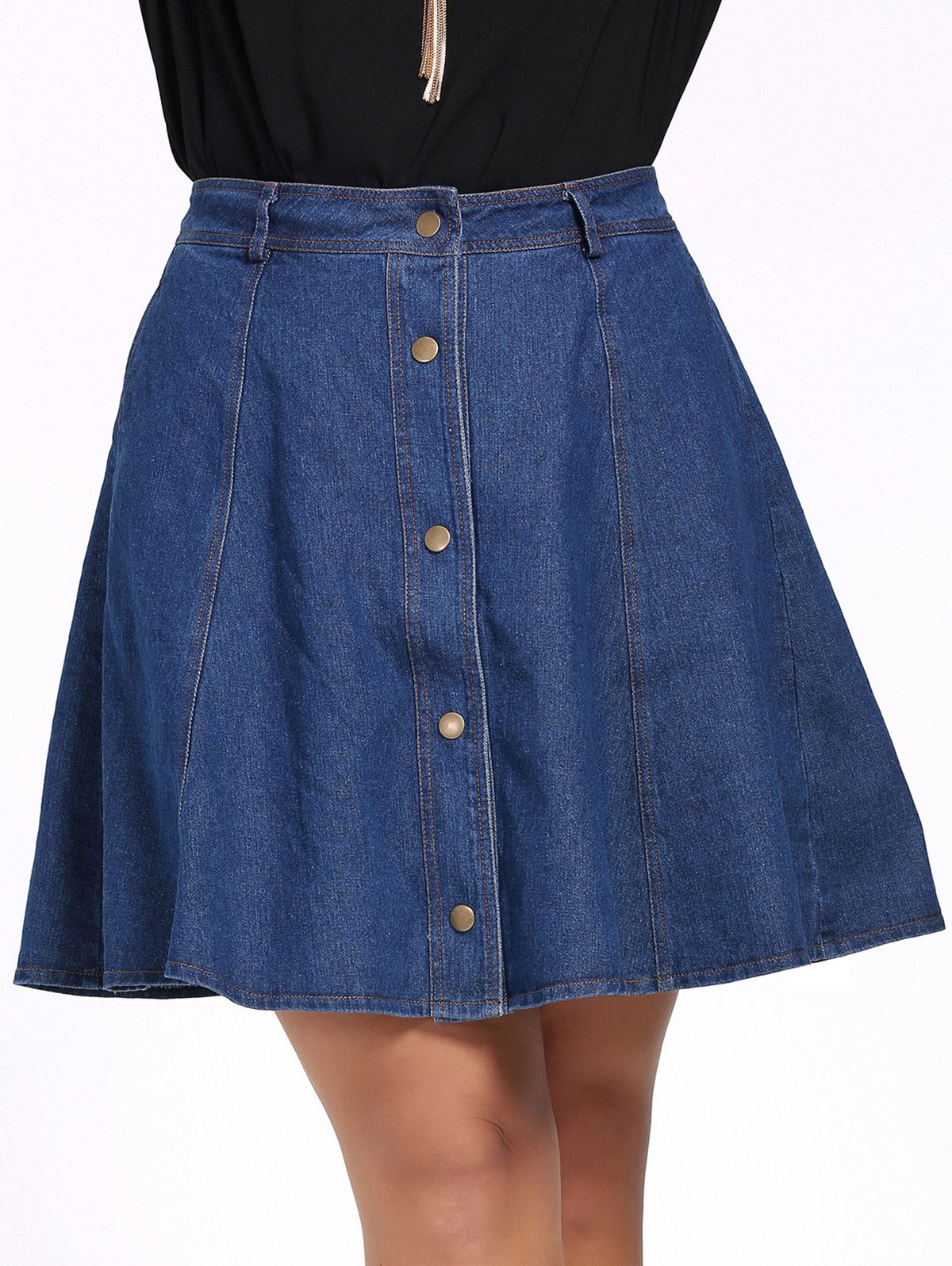 Chic Plus Size Pure Color Button Down Denim Skirt - BLUE XL