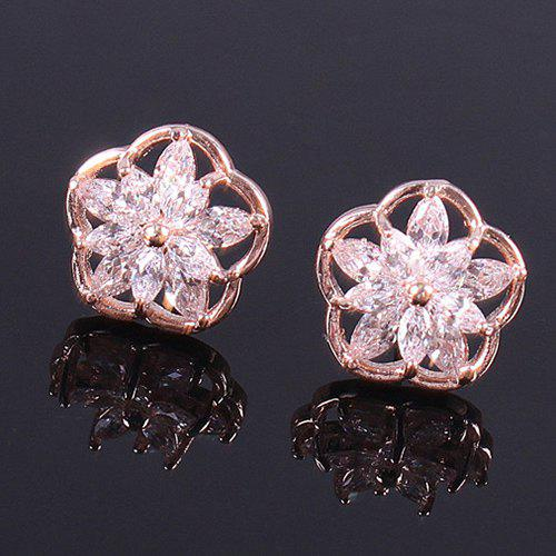 Pair of Flower Rhinestone Stud Earrings - ROSE GOLD