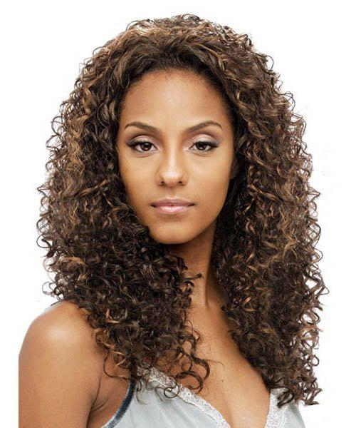 Fluffy Curly Synthetic Fashion Long Dark Brown Mixed Capless Wig For Women