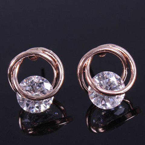 Pair of Gorgeous Rhinestone Circle Stud Earrings For Women