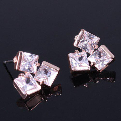 Pair of Square Rhinestone Earrings - GOLDEN