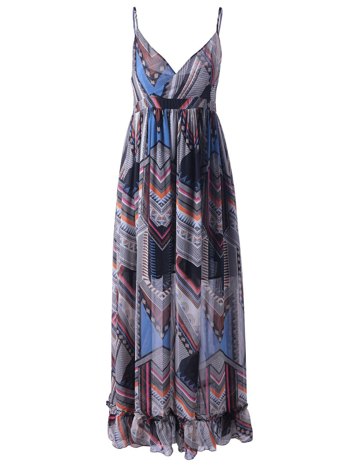 Trendy Colorful Print Sleeveless Spaghetti Strap Dress For Women - COLORMIX S