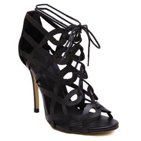 Fashionable PU Leather and Stiletto Heel Design Women's Sandals - BLACK 36