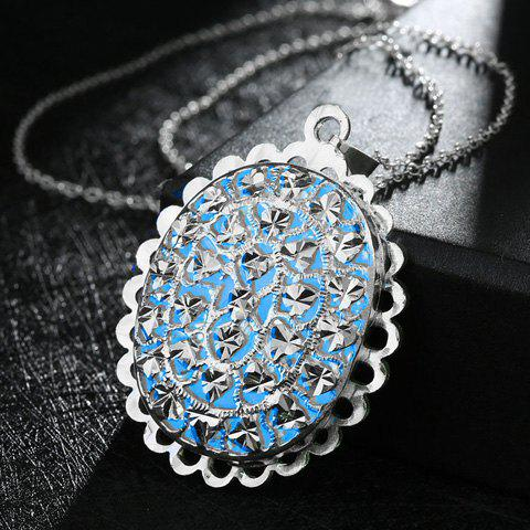 Trendy Oval Shape Noctilucence Pendant Necklace For Women - LAKE BLUE