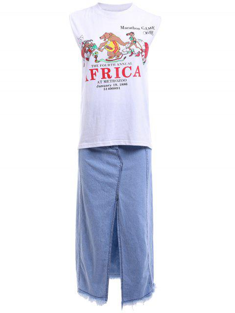 Stylish Cartoon Pattern T-Shirt + Split Denim Skirt For Women - WHITE ONE SIZE(FIT SIZE XS TO M)