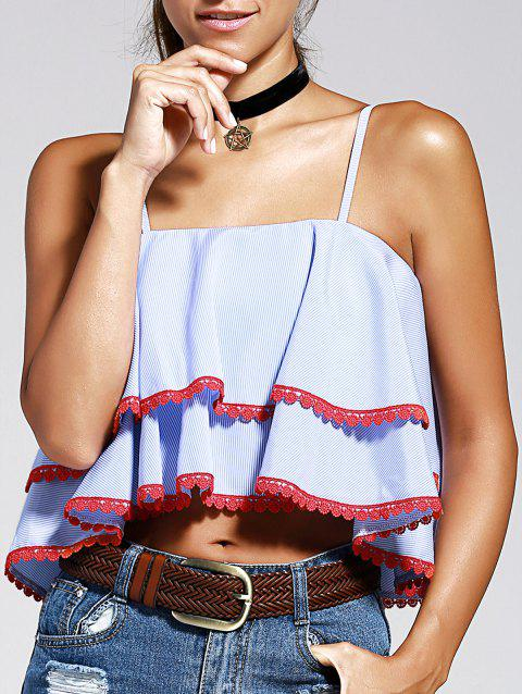 Chic Women's Spaghetti Strap Ruffles Crop Top - STRIPE L