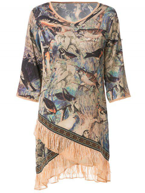 Stylish V-Neck Half Sleeve Bird Print Women's Dress - BLUE M