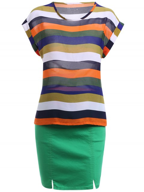 Stylish Women's Short Sleeve Striped T-Shirt + Skirt Twinset - GREEN M