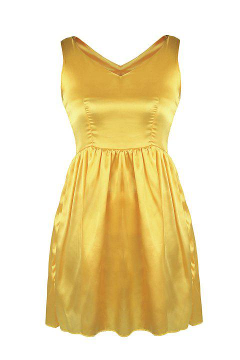 Sexy V-Neck Solid Color Sleeveless Slimming Dress For Women - YELLOW S