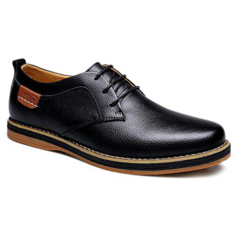 Preppy Lace-Up and Solid Color Design Men's Casual Shoes - BLACK 41