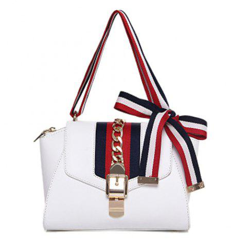 Stylish Striped and Chains Design Women's Tote Bag - WHITE