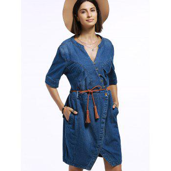 Half Sleeve Denim Dress with Belt - BLUE BLUE