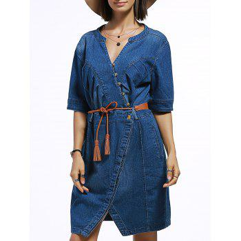 Half Sleeve Denim Dress with Belt