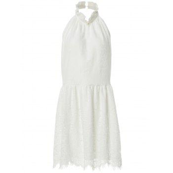 Sexy Style Halter Neck Backless Solid Color Lace Dress For Women