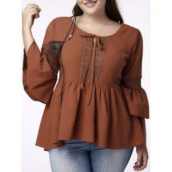 Cute Plus Size Jewel Neck Flounced Sleeve Hollow Out T-Shirt For Women