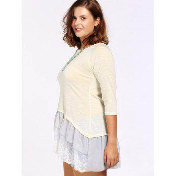 Fashionable Scoop Neck 3/4 Sleeve Lace Splicing Blouse For Women - APRICOT L