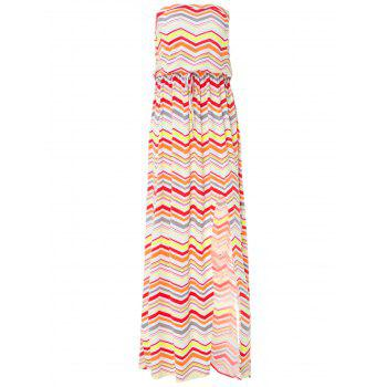 Noble Strapless Multicolored Zigzag Print Maxi Dress For Women