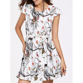 Printed Belted Mini Flare Dress
