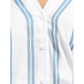 V-Neck Dolman Sleeve Striped Shirt - BLUE L