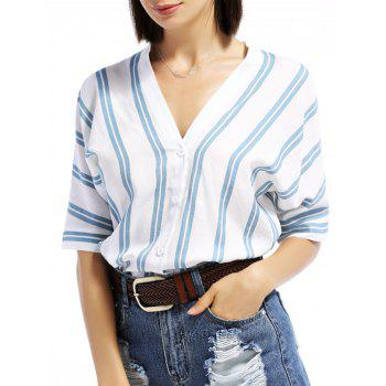 V-Neck Dolman Sleeve Striped Shirt