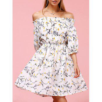 Sweet Off The Shoulder Floral Print Women's Dress