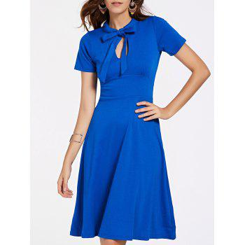 Stylish Women's Short Sleeve Bow Tie Neck Flare Dress