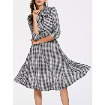 Stylish Women's 3/4 Sleeve Bow Tie Collar Buttoned Plaid Dress