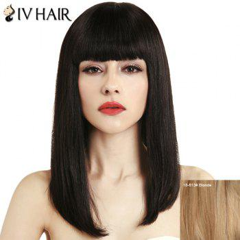 Women's Fashion Full Bang Siv Hair Straight Human Hair Wig