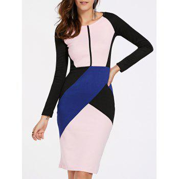Elegant Women's Long Sleeve Round Neck Color Block OL Dress