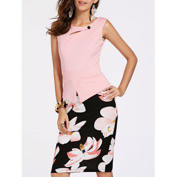 Elegant Women's Sleeveless Floral Print Faux Twinset OL Dress