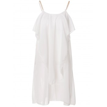 Stylish Women's Spaghetti Strap Solid Color Ruffled Chiffon Dress - WHITE WHITE