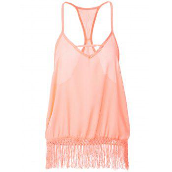 Sweet Fringe Splicing Spaghetti Strap Sleeveless Blouse For Women