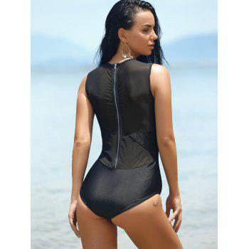 Mesh Panel Fitted One-Piece Swimwear - BLACK S