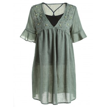 Casual Style Women's Tank Top and Plunging Neck Half Sleeve Beaded Dress