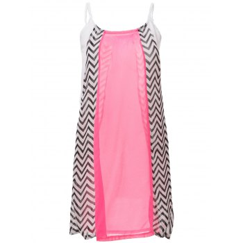 Casual Spaghetti Strap Color Block Stripe Chiffon Dress For Women - L L