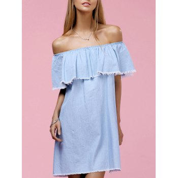 Chic Off The Shoulder Solid Color Fringed Flounce Women's Dress