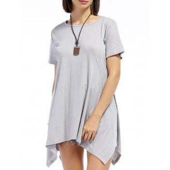 Chic Short Sleeve Round Neck Pure Color Asymmetrical Women's T-Shirt