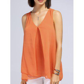 Trendy V-Neck Solid Color Layered Women's Tank Top