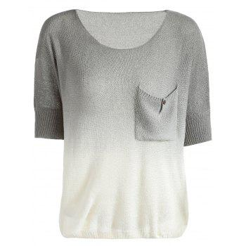 Trendy Women's Scoop Neck Pocket Design Gradient Color Sweater