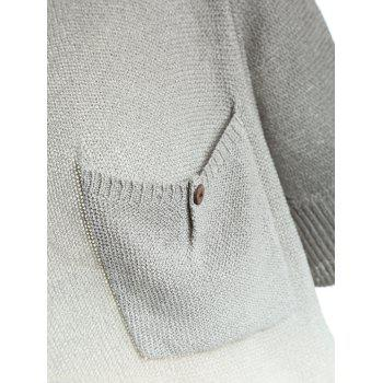 Trendy Women's Scoop Neck Pocket Design Gradient Color Sweater - LIGHT GRAY ONE SIZE(FIT SIZE XS TO M)