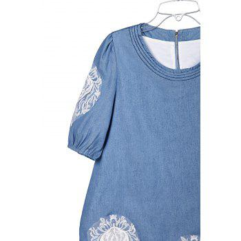 Lace Splicing Sweet Scoop Neck Diamante 1/2 Sleeve Denim Women's Blouse - M M
