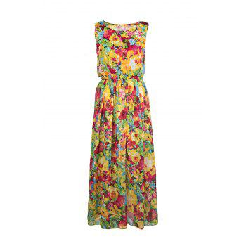 Bohemian Floral Print Scoop Neck Chiffon Dress For Women - AS THE PICTURE L