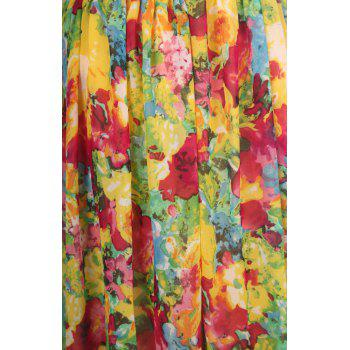 Bohemian Floral Print Scoop Neck Chiffon Dress For Women - AS THE PICTURE AS THE PICTURE