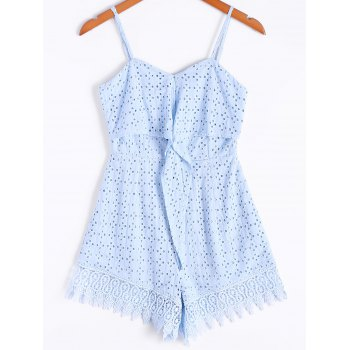 Casual Spaghetti Strap Lace Openwork Romper For Women