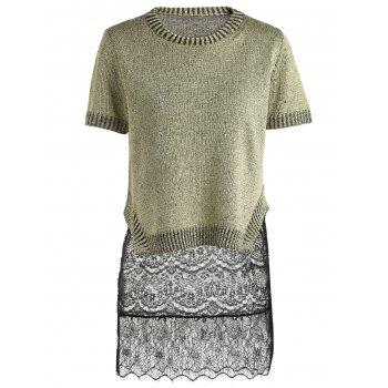 Trendy Women's Short Sleeve Furcal Sweater + Mini Lace Sundress Twinset